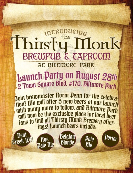 Thirsty Monk Brewery Announces Release Date for Beers; Biltmore Park location to be named Taproom & Brewpub