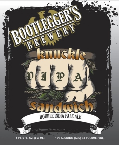 Bootlegger s brewery limited release knuckle sandwich dipa bottles