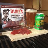 Duke's Sweet Bar-B-Q Braised Pork Strips with Weekend Warrior Pale Ale | Karbach Brewing Co. | Houston, TX