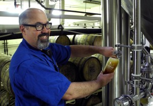 Full Sail Brewer Barney Brennan pouring from a zwickel