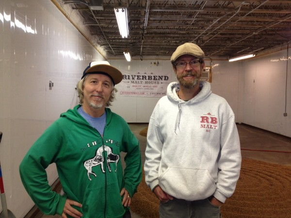 Bryan Simpson, New Belgium PR Director, with Brian Simpson, co-founder of Riverbend Malt House.