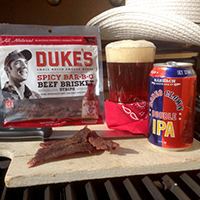 Duke's Spicy Bar-B-Q Beef Brisket Strips with Rodeo Clown IPA | Karbach Brewing Co. | Houston, TX