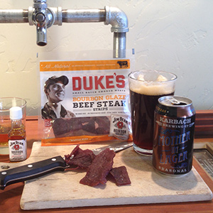 Duke's Bourbon Glaze Steak Strips with Karbach Mother in Lager