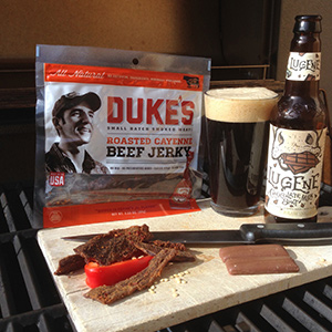 Duke's Roasted Cayenne Beef Jerky with Odell Lugene Chocolate Milk Stout