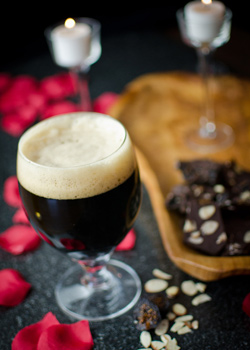 Chocolate Fig Almond Bark with chocolate stout