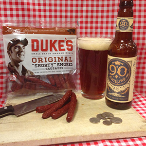 """Duke's Original """"Shorty"""" Smoked Sausages with Odell 90 Shilling Ale"""