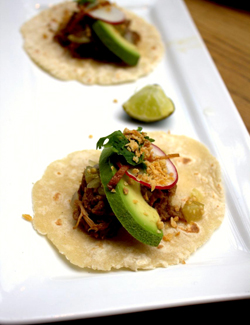 Pork Shoulder Tacos with Bam Noir Braised Sauerkraut and Vegetable Salad